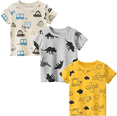 DEEKEY Toddler Little Boys Shirts 3-Pack Short-Sleeve Graphic T-Shirts Top Tees for Kids 2-7T
