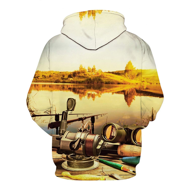 EspTmall Printed Hoodie 3D Hoodies Men Fish Sweatshirts Tracksuit Streetwear Jacket Animal Pullover Funny Coat Picture Color M