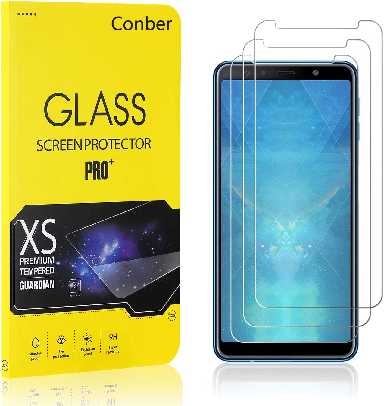 Case Friendly Premium Tempered Glass Screen Protector for Samsung Galaxy A7 2018 Conber Scratch-Resistant Screen Protector for Samsung Galaxy A7 2018, Anti-Shatter 3 Pack