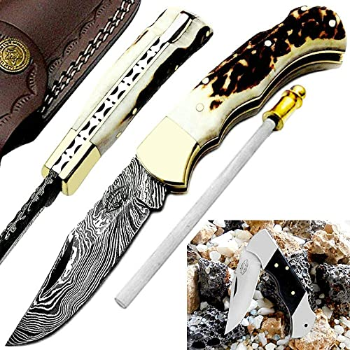 Pocket Knife 6.5 Stag Horn Damascus Steel Knife Brass Bloster Back Lock Folding Knife Real Horn Handel Damascus Knife Sharpening Rod Pocket Knives 100 Prime Quality Buffalo Horn SmallPocket Knife