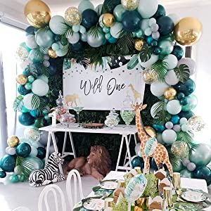 Jungle Safari Theme Baby Shower Decorations Boy - Balloon Garland Arch Kit, Tropical Leaves Decoration, Colorful Balloons, Balloon Strip, Green Animal Theme Birthday Party Decorations, Boys/Girls Party (167pcs)