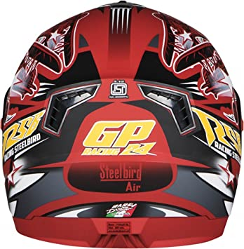 8f4bc4e3 Steelbird Men's ISI Certified Bargy Design Graphics Helmet - Hovering  Glossy Finish with Rainbow Visor +