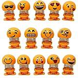 Magik 14 Pack Emoji Bobble Heads Dolls Funny Smiley Face Springs Dancing Toys Novelty Figures Dancing Dolls Car Dashboard Orn