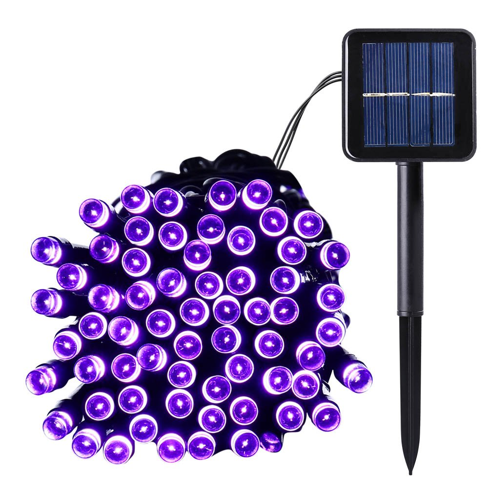 Qedertek Solar String Lights, 39ft 100 LED String Lights Solar Powered for Outdoor, Home, Lawn, Wedding, Patio, Party and Holiday Decorations (Purple)