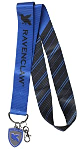 "Harry Potter Lanyard with Embossed Metal Ravenclaw House Pendant - Extra Wide 1.75"" Width for Pins"
