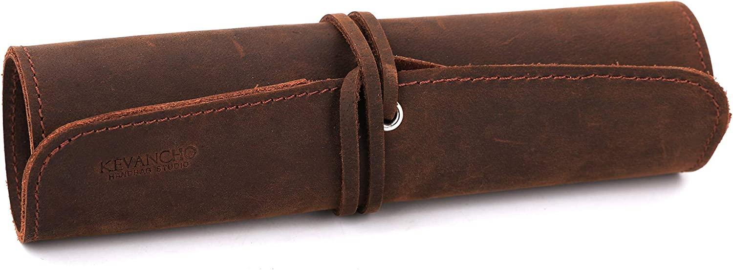 Jagucho Leather Pencil Pouch Case, Roll Pen Bag Storage Holder Organizer Wrap for Boys Girls, School Office Work (L, Brown)