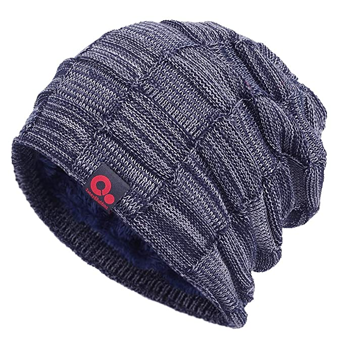 Janey/&Rubbins Winter Oversize Slouchy Style Beanie Fur Lined Stocking Skull Cap Solid Knit Ski Hat