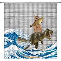 Funny Cat Shower Curtain Cat Riding Dinosaur Lovely Animal Kitten Dino Japanese Great Waves Vintage Wooden Comic…