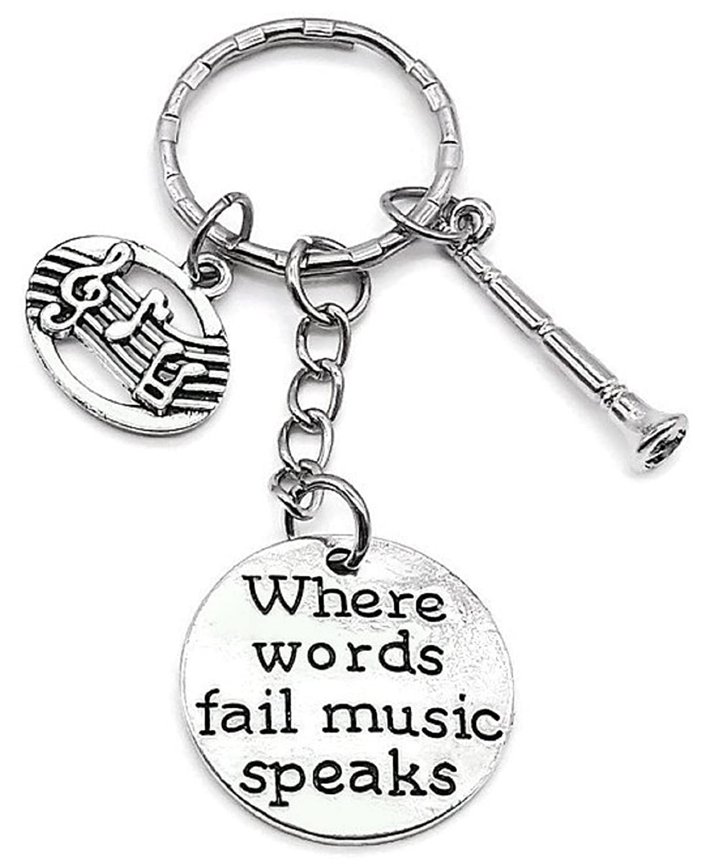 Amazon.com: Kits Kiss Clarinet Llavero, llavero de música ...