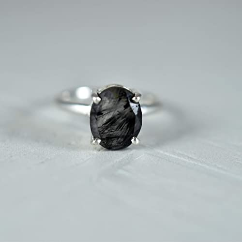 Sterling Silver  Dainty Ring Gift For Her Minimalist Jewelry Tiny Black Rutilated Quartz Ring Stackable Gemstone Ring