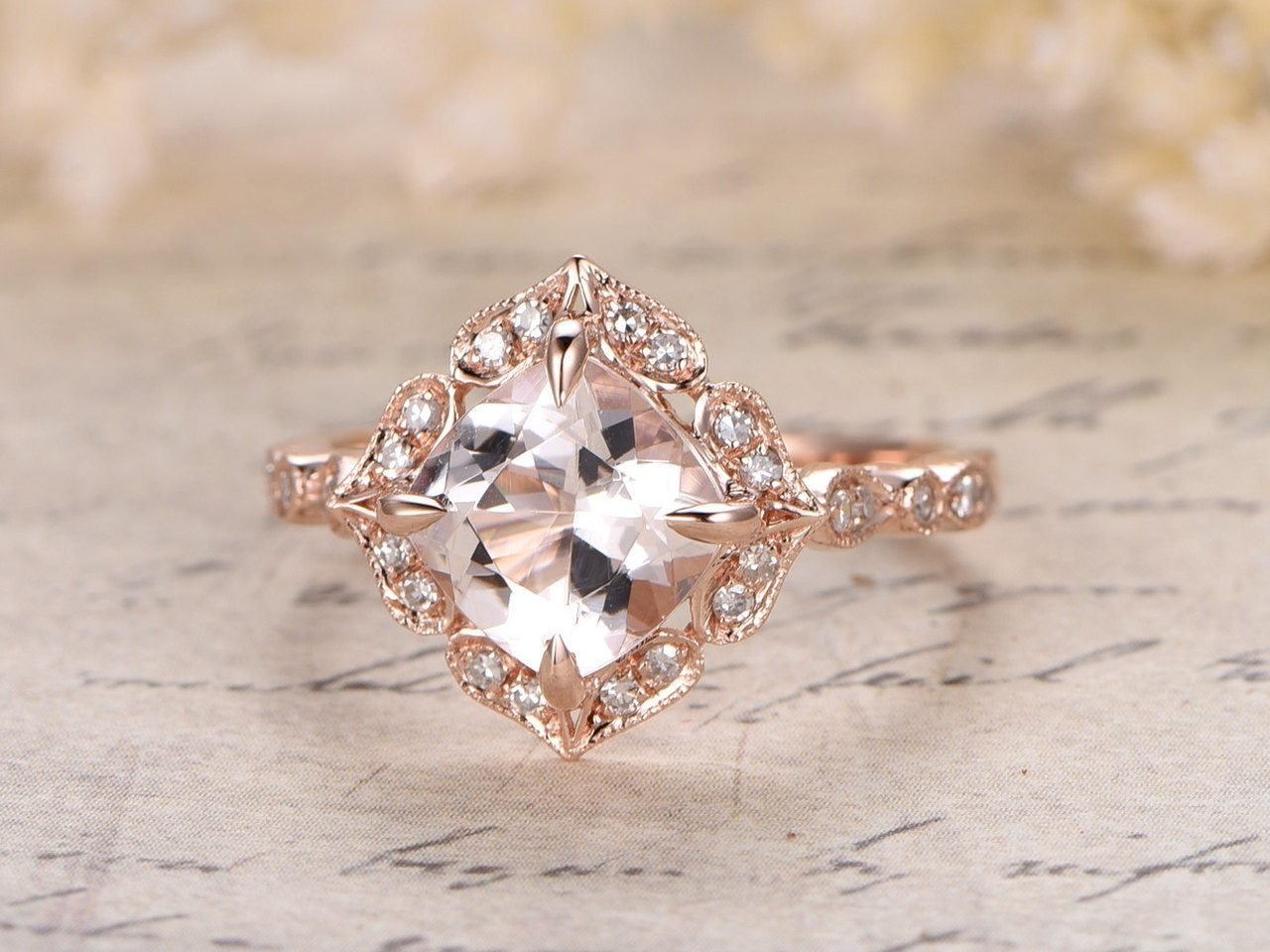 1.25 Carat Antique Design Round cut Morganite and Diamond Engagement Ring for Women In Rose Gold 71AxTKWqpAL._SL1280_