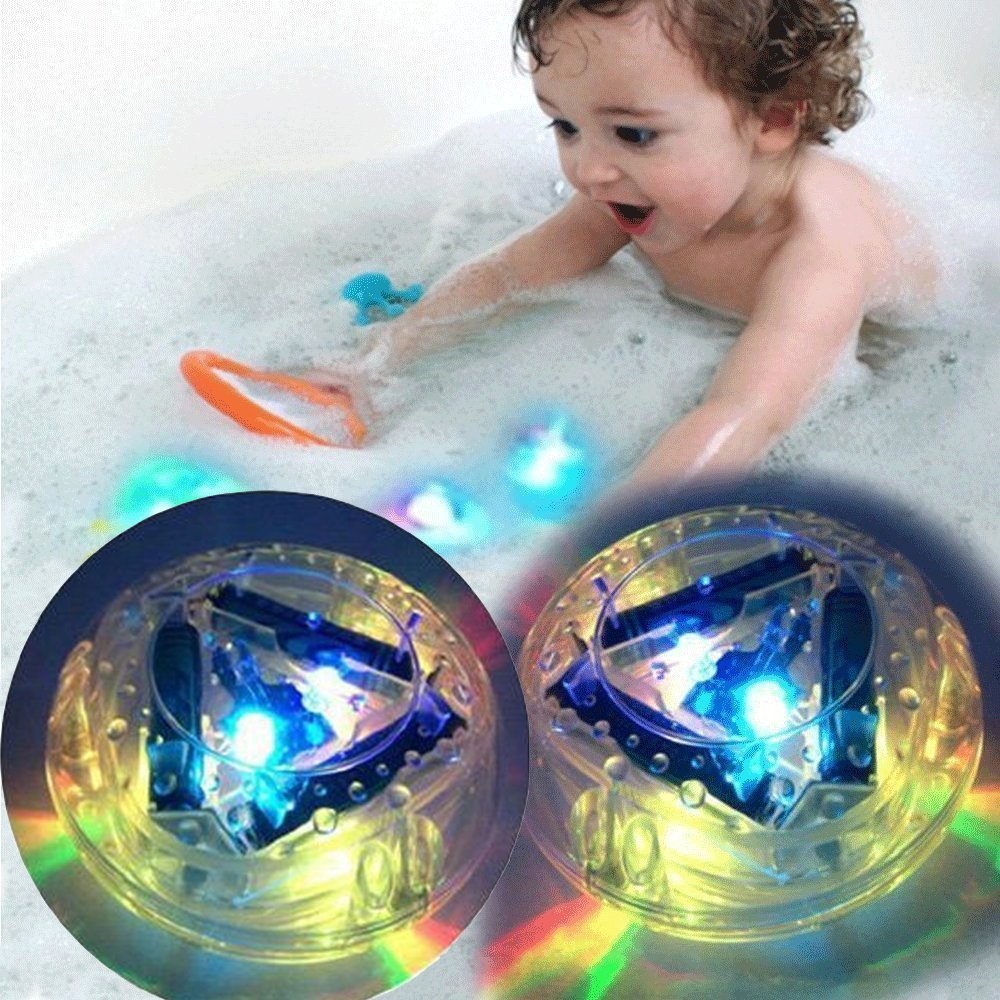 2 Packs Bathroom LED Light Toys - Wonder4 New Upgrade Babys Interesting Bathing Toys Waterproof Funny Bathroom Bathing Tub LED Light Toy for Bathtub Play Wonder4 INC.