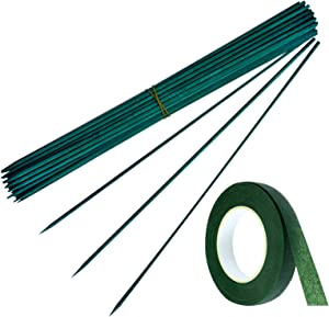 SHEN RONG Green Wood Plant Stake,Garden Stakes, Floral Picks, Floral Plant Support Wooden,Wooden Sign Posting Garden Sticks and 30 Yard Dark Green Flower Paper Tape (100, 15inch)