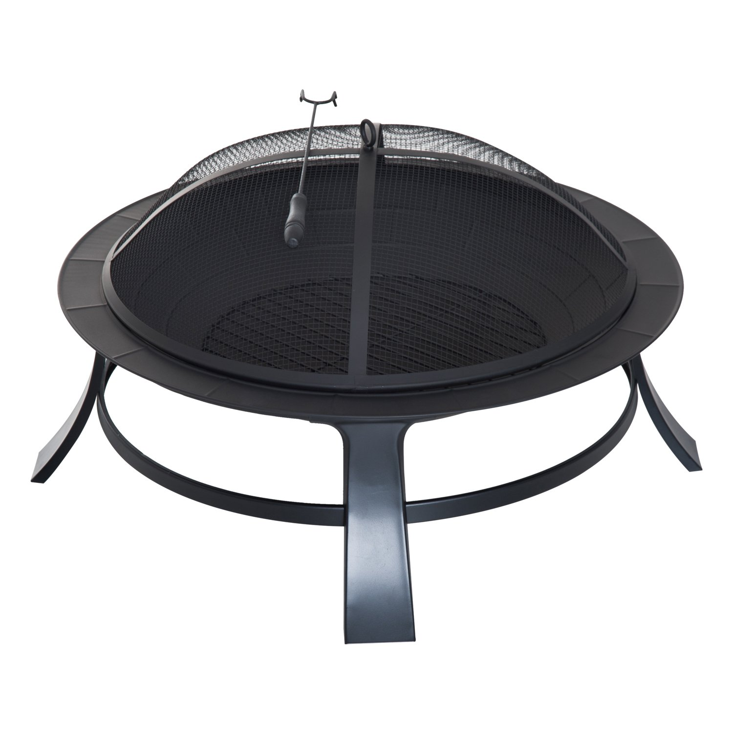 Outsunny 30 Round Firepit Garden Fireplace Portable Wood Burning Backyard Poker Spark Screen Black Aosom Canada CA842-0790231