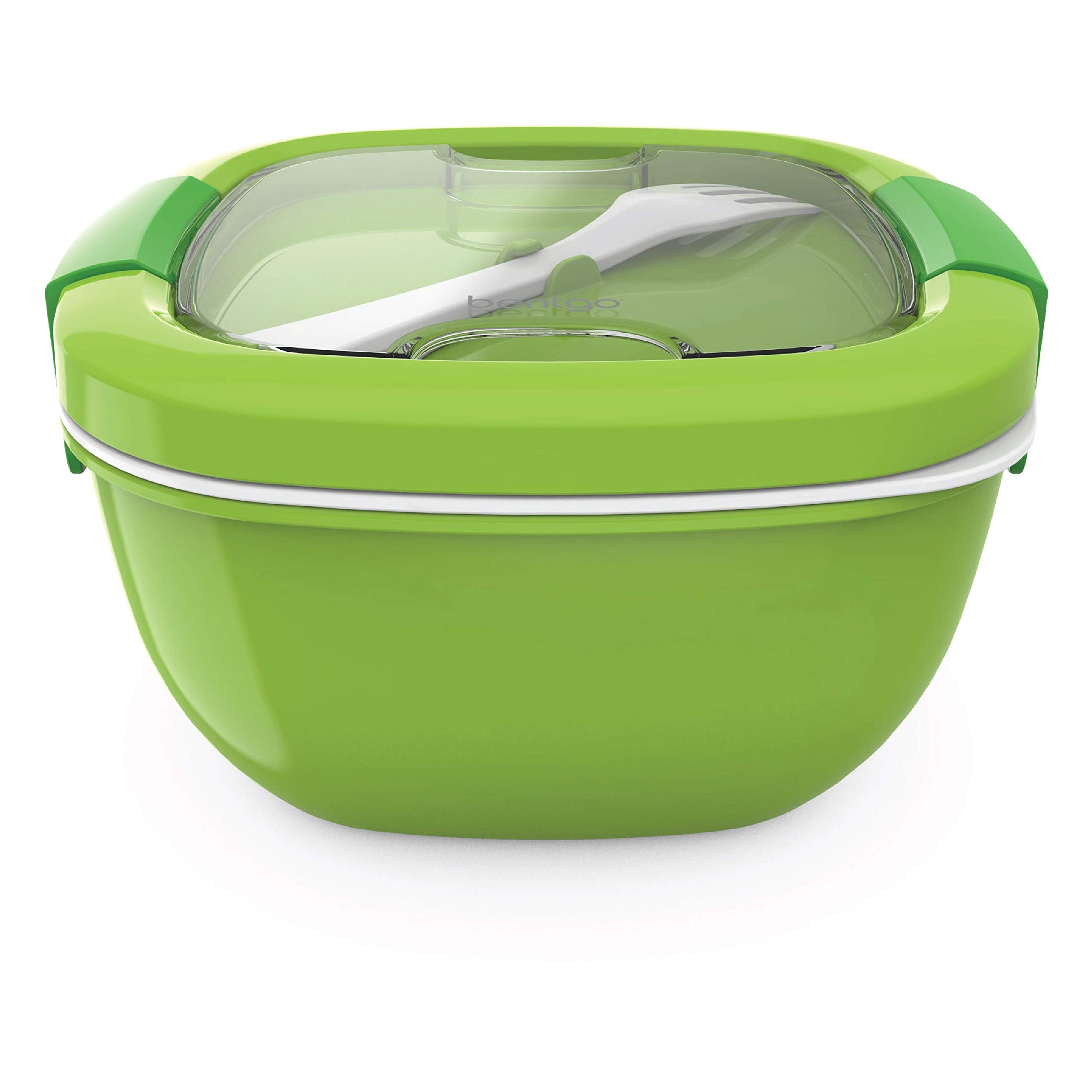 Bentgo Salad (Green) BPA-Free Lunch Container with Large 54-oz Salad Bowl, 3-Compartment Bento-Style Tray for Salad Toppings and Snacks, 3-oz Sauce Container for Dressings, and Built-In Reusable Fork by Bentgo (Image #4)
