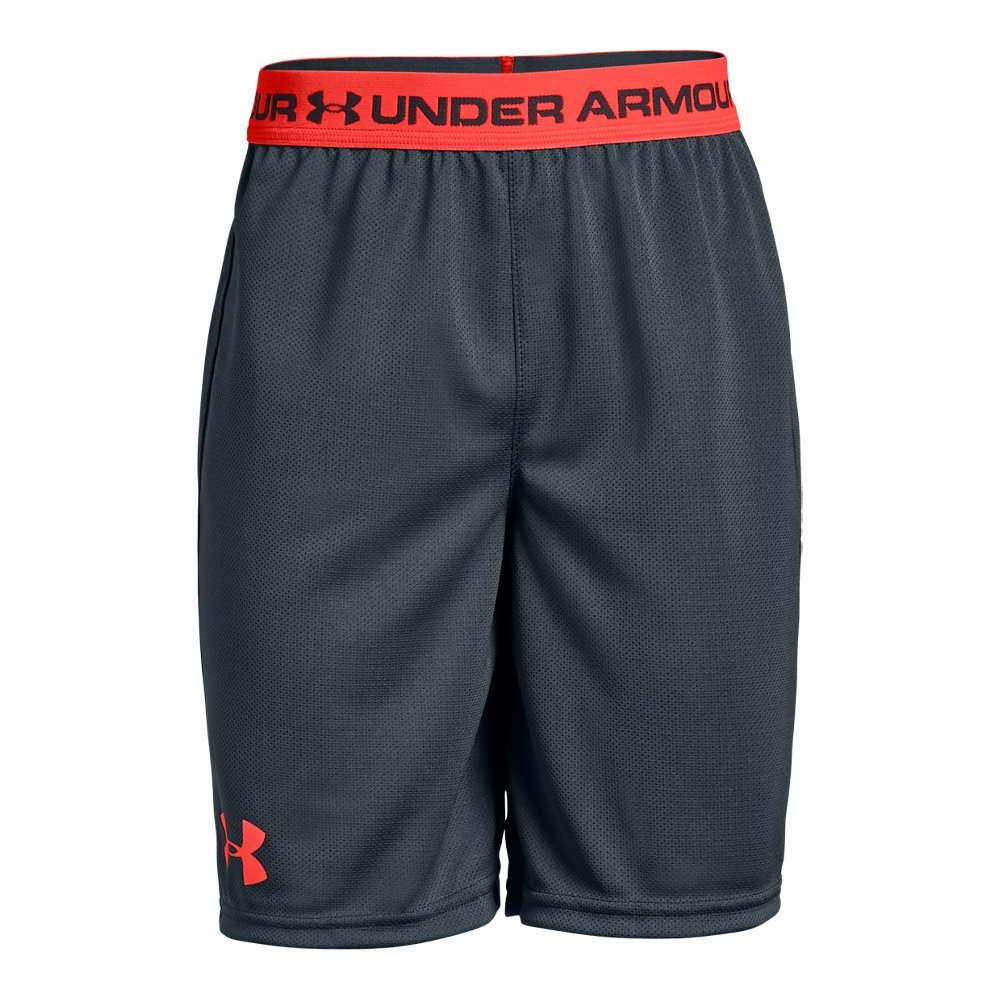 Under Armour Boys' Tech Prototype 2.0 Shorts, Stealth Gray (008)/Neon Coral, Youth X-Large by Under Armour