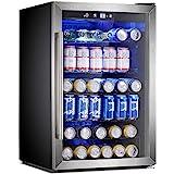 Antarctic Star Beverage Refrigerator Cooler - 145 Can Mini Fridge Glass Door for Soda Beer or Wine Small Drink Dispenser Clea