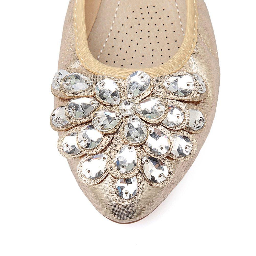 Meeshine Womens Foldable Soft Pointed Toe Ballet Flats Rhinestone Comfort Slip on Flat Shoes(8 B(M) US,Gold 01) by Meeshine (Image #3)