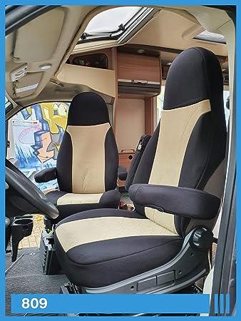 Bremer SitzbezÜge Maß Sitzbezüge Kompatibel Mit Wohnmobil Fahrer Beifahrer Schwarz Beige 809 Auto