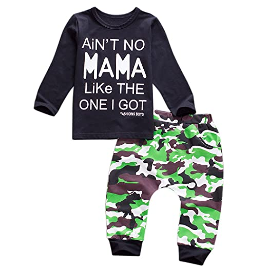 f910ed3bebdde Newborn Baby Boys Winter Clothes Black Romper Bodysuit and Camouflage Pants  Outfit Set (2-