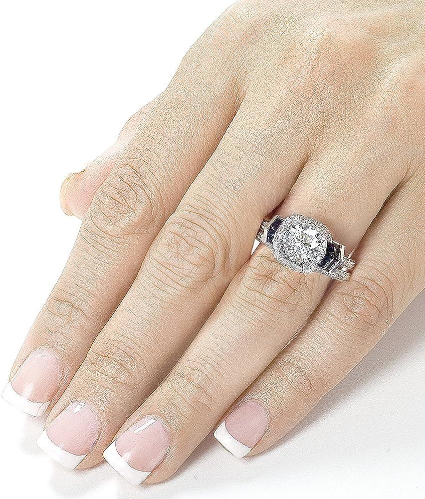 Kobelli Round-cut Moissanite Bridal Set & Sapphire 1 3/4 CTW 14k White Gold