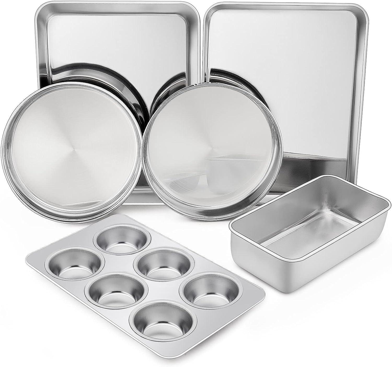 TeamFar Stainless Steel Bakeware Set, 6-Piece Metal Baking Roasting Pan Set, Includes Rectangular/Square/Round Cake Pan, Loaf/Muffin/Toaster Oven Pan, Non-Toxic & Dishwasher Safe