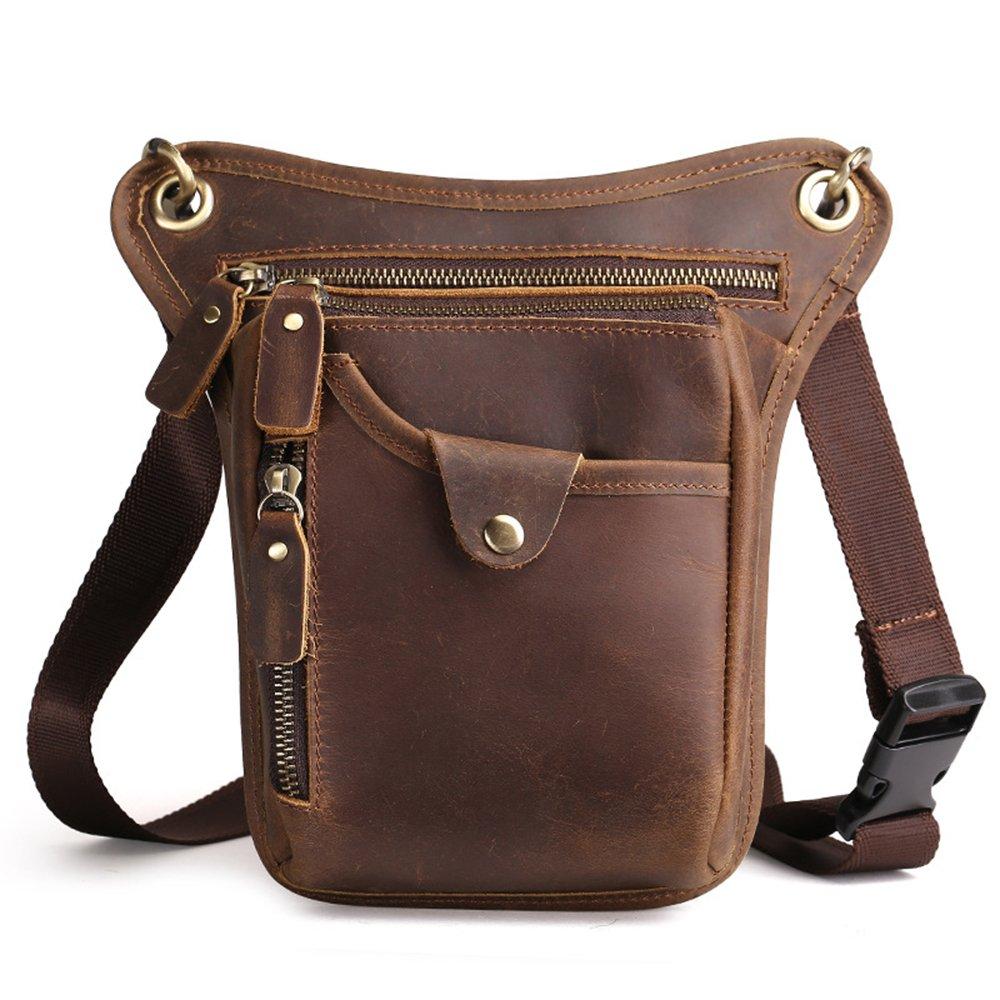 J.Market Cowhide Leather Mens Waist Pack Messenger Riding Hip Bum Pack Drop Leg Cross Over Bag (Coffee)