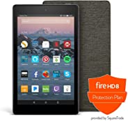 Fire HD 8 Protection Bundle with Fire HD 8 Tablet (16 GB, Black), Amazon Cover (Charcoal Black) and Protection Plan (2-Year)