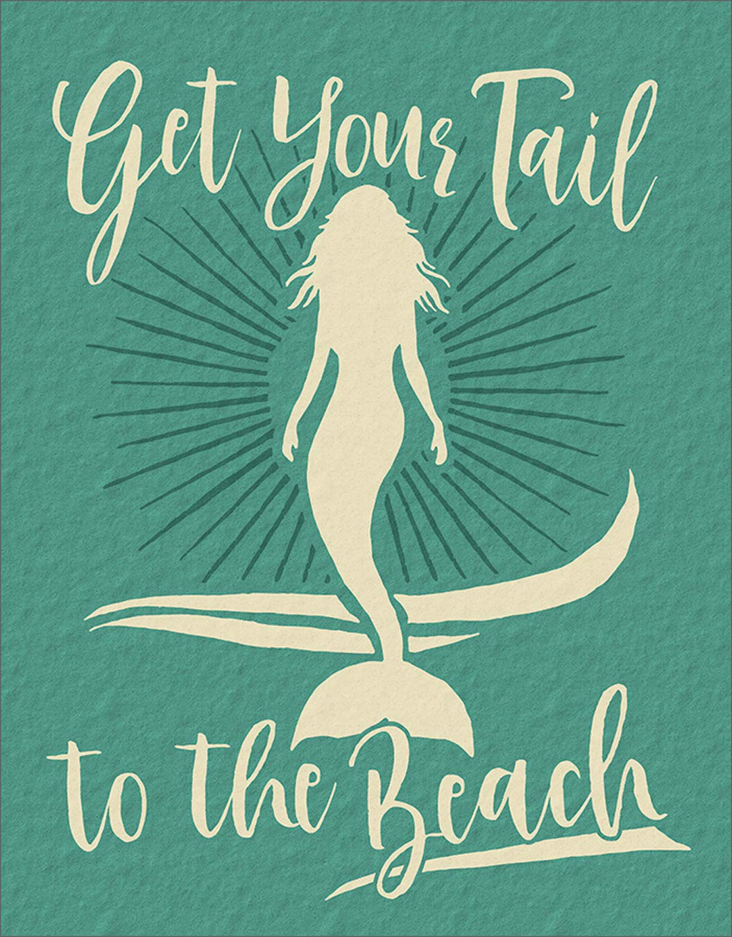 """Desperate Enterprises Get Your Tail to The Beach - Mermaid Tin Sign, 12.5"""" W x 16"""" H"""