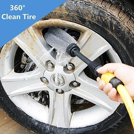 Cepillo de limpieza para ruedas de coche, cepillo de limpieza de rotación automática, herramienta