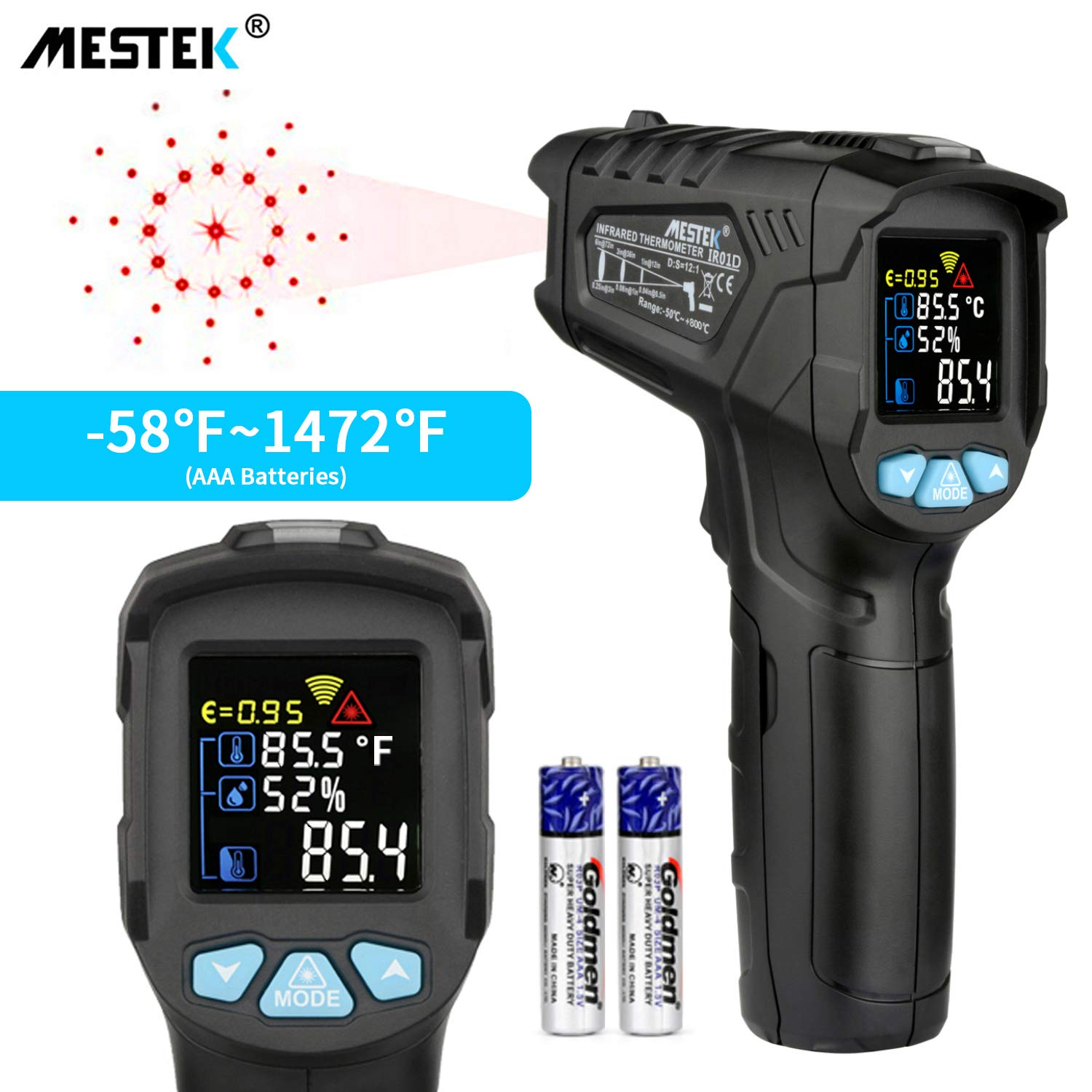 Infrared Thermometer Temperature Gun MESTEK Non-Contact Laser Digital Thermometers with Color LCD Screen -58℉~1472℉(-50℃~800℃) Adjustable Emissivity Humidity Alarm Setting Max/Hold Indoor Outdoor Home by MESTEK