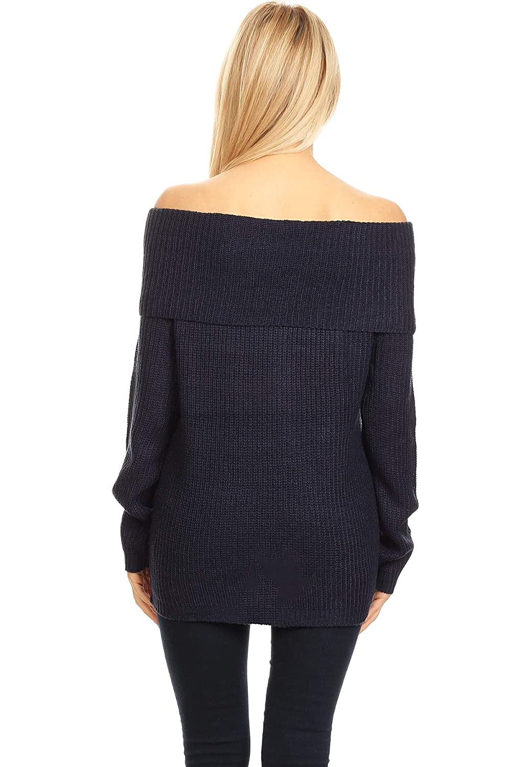 Women s Lace Up Fold Over Off Shoulder Sweater Top at Amazon Women s  Clothing store  58f5ae87a