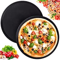 CharmCollection Pizza Tray - 2 Pack 9-inch Professional Pizza Round Pan Tray Dish Non-Stick Carbon Steel Baking Sheet for Oven Cake Cookies Pan Baking(Black)