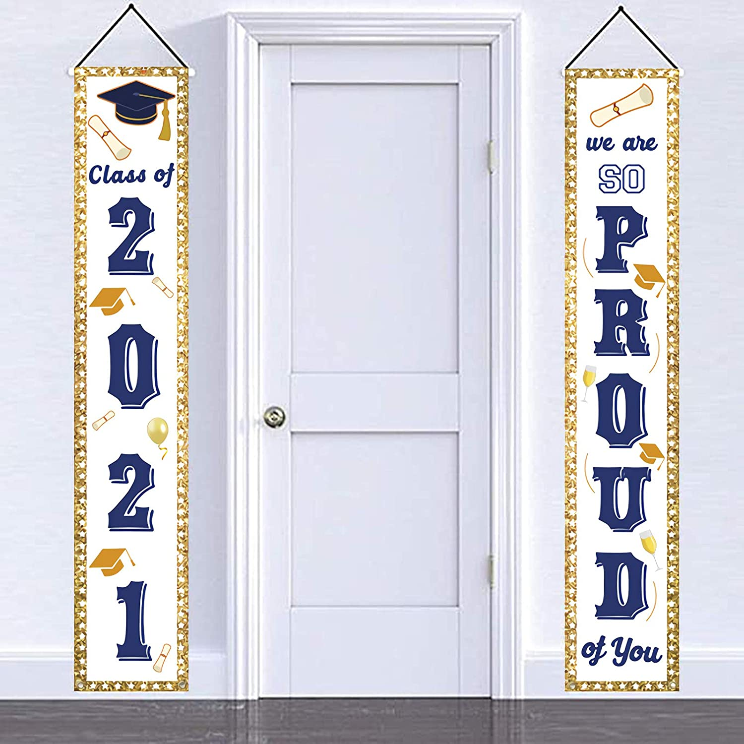 Graduation Party Supplies 2021 Graduation Decorations 2021 Porch Sign Banner Door Decorations 2021 Graduation Banners Gold Navy Class of 2021 We are SO Proud of You Door Porch Sign Outdoor Décor