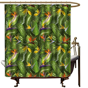 Tropical Leaves Jungle Forest Polyester Fabric Shower Curtain Set Bathroom Decor