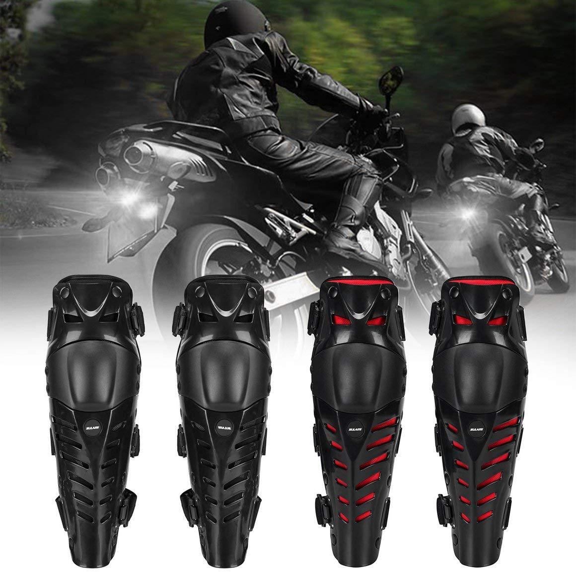 Color: Negro y Rojo Funnyrunstore 1 Par Motocicleta Rodilleras Proteger Motocross Motocicleta Riding Racing Protective Gear Proteger al Aire Libre Sport Safety Pads Guards