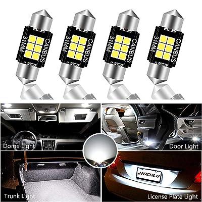 HOCOLO 4x CanBus Festoon 31mm LED Bulb For Interior Car Lights Dome/Map/License Plate/Parking/Door/Trunk/Courtesy Lamp -Error Free LED DE3175 DE3021 DE3022 White (4pcs Canbus Festoon 31mm-5050-6SMD): Automotive