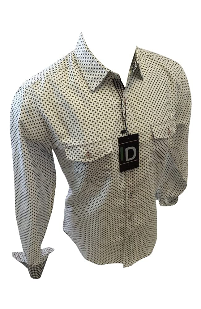 Mens ID by Caviar Dremes Designer Woven Button Up Shirt White Abstract Geometric Print 1142