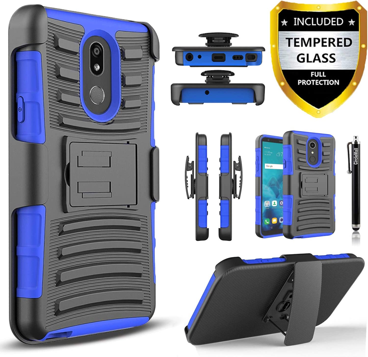 LG Stylo 5 Case, with [Tempered Glass Screen Protector Included], Circlemalls Built-in Kickstand Belt Clip Holster Heavy Duty Protective Phone Cover Bundled and Stylus Pen-Blue