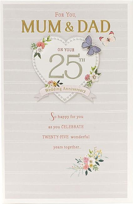 Tarjeta de felicitación de 25 aniversario de boda para mamá y papá ...