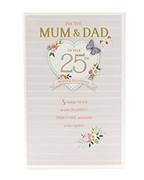 Tarjeta de felicitación de 25 aniversario de boda para mamá ...
