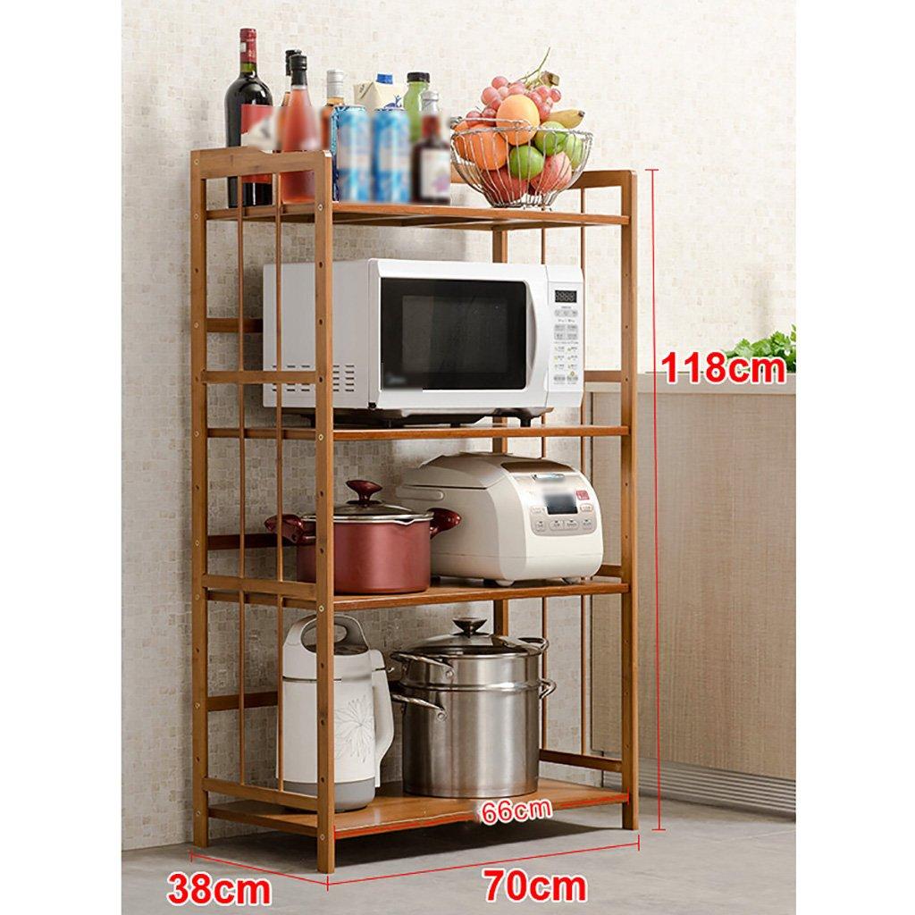 LXLAキッチン用棚貯蔵用ポット棚マイクロ波棚オーブン用フレームフレーム4階建ての多層物品ウッド52/60/70/80 * 118 * 38cm (サイズ さいず : 80cm) B07BGYX23J 80cm 80cm