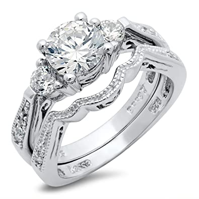 sterling silver cubic zirconia cz wedding engagement ring set sz 5 - Cubic Zirconia Wedding Ring Sets