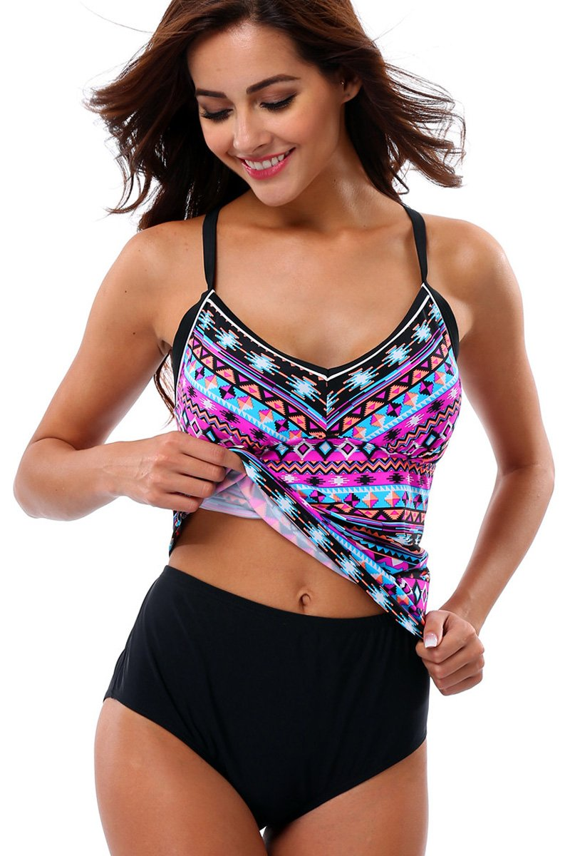 Sociala Womens Swimwear Two Piece Swimsuits Sunsuit Beachwear Tankini Set Swimwear Size M