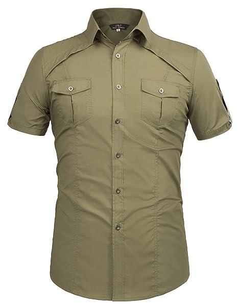 37551fc84791d Paul Jones reg Men s Shirt Men s Casual Pocket Button Down Shirts Short  Sleeve Army Green (