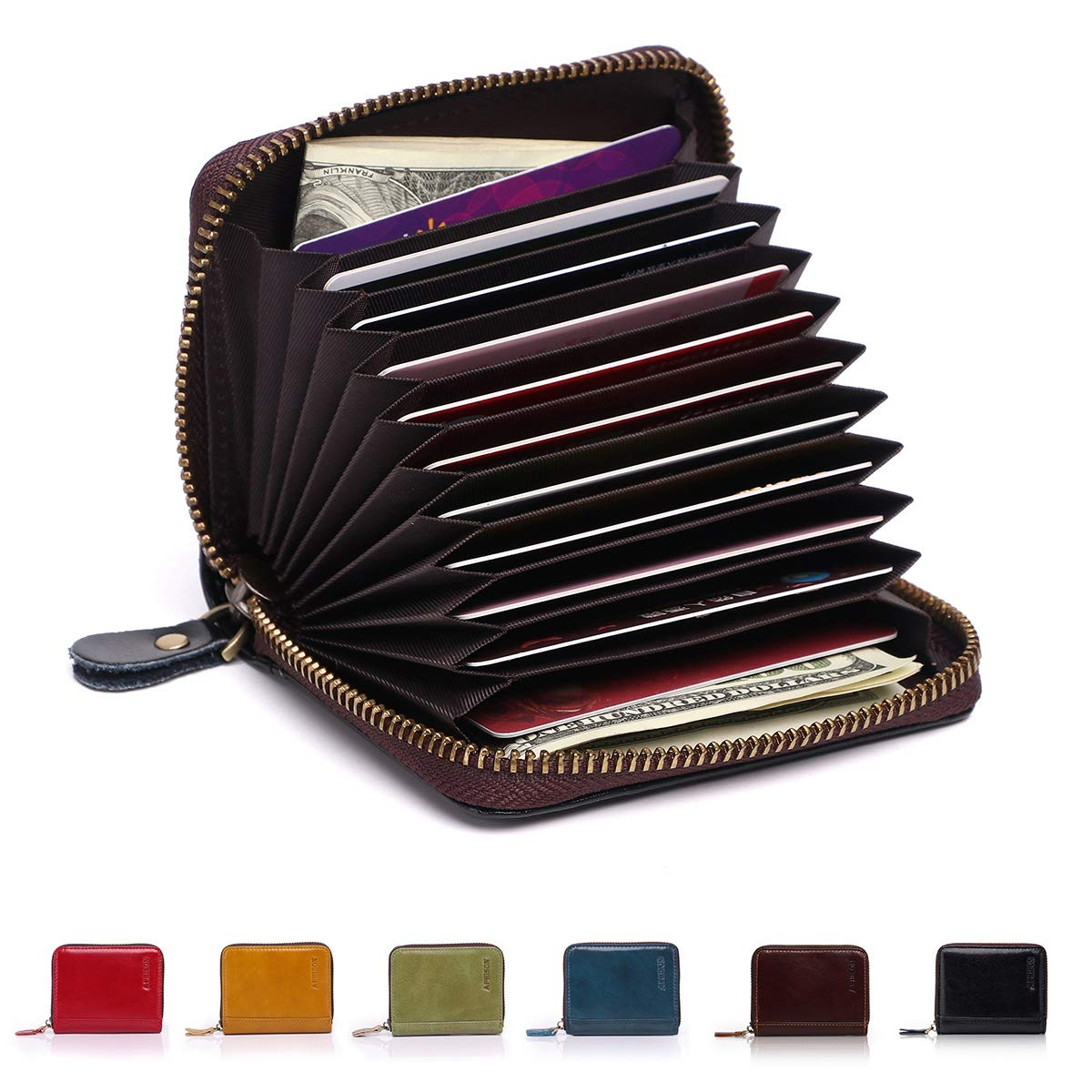 APHISON RFID Genuine Leather Credit Card Holder Wallet for Women Men Coin Purse Zipper Small Secure Card Case/Gift Box 8117