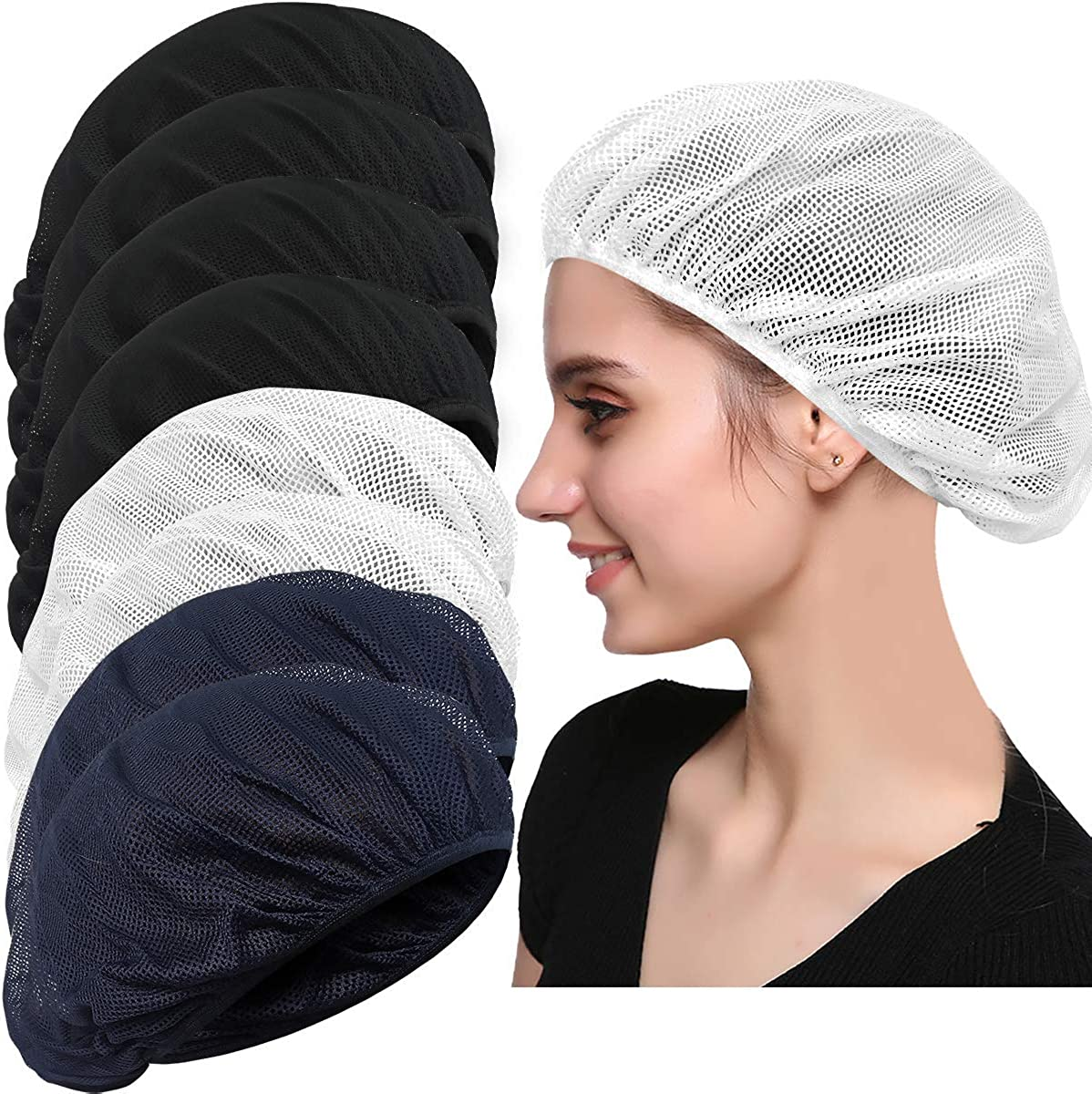 4 or 8 Pack Chef Hat Kitchen Cooking Chef Cap Adjustable Food Service Hair Nets Reusable Washable Mesh Bouffant Beanie