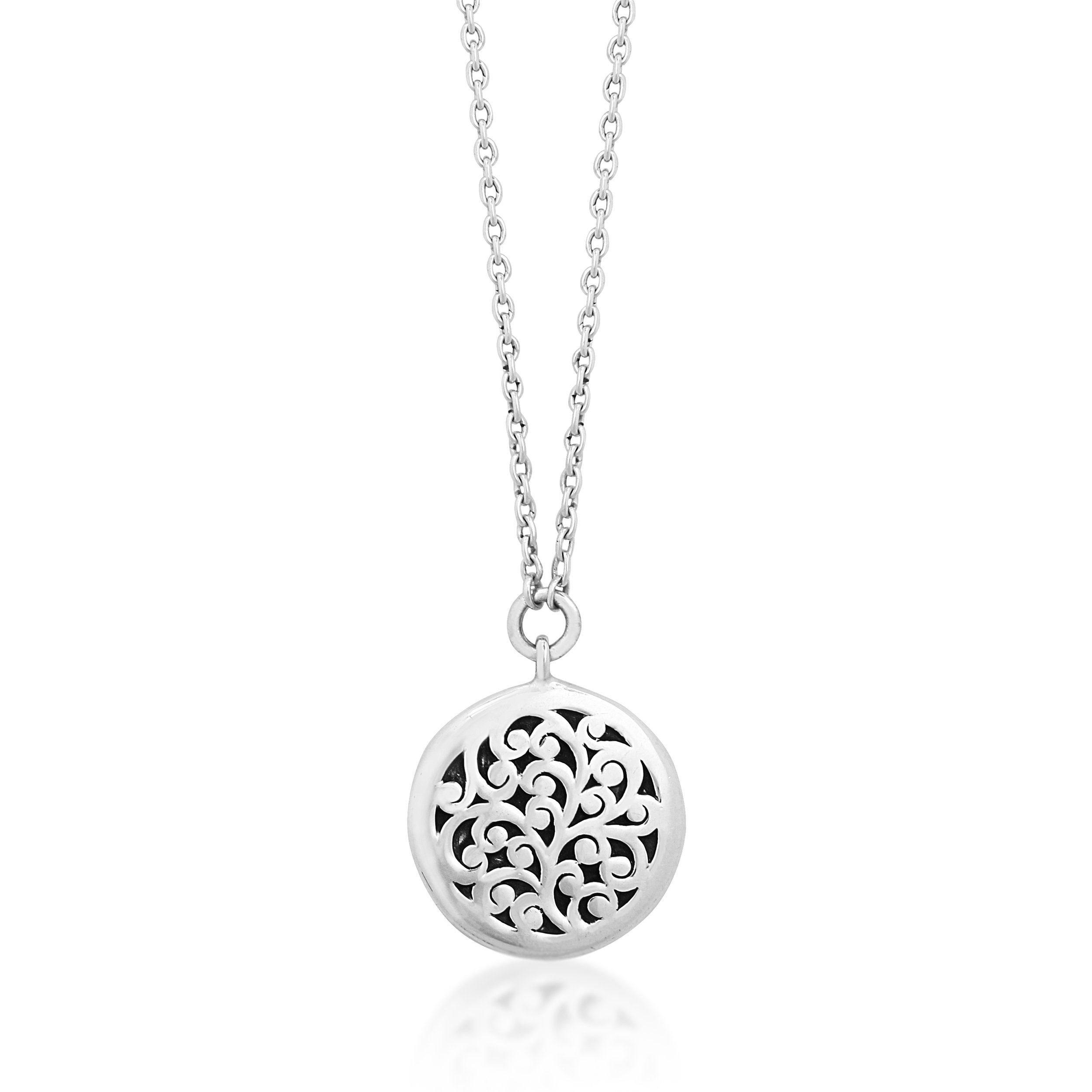 Lois Hill ''Classic'' Sterling Silver Hand Carved Scroll Round Pendant Necklace, 17''