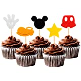 NiceLife Mickey Mouse Inspired Cupcake Toppers Kids Birthday Party Cake Decoration Supplies