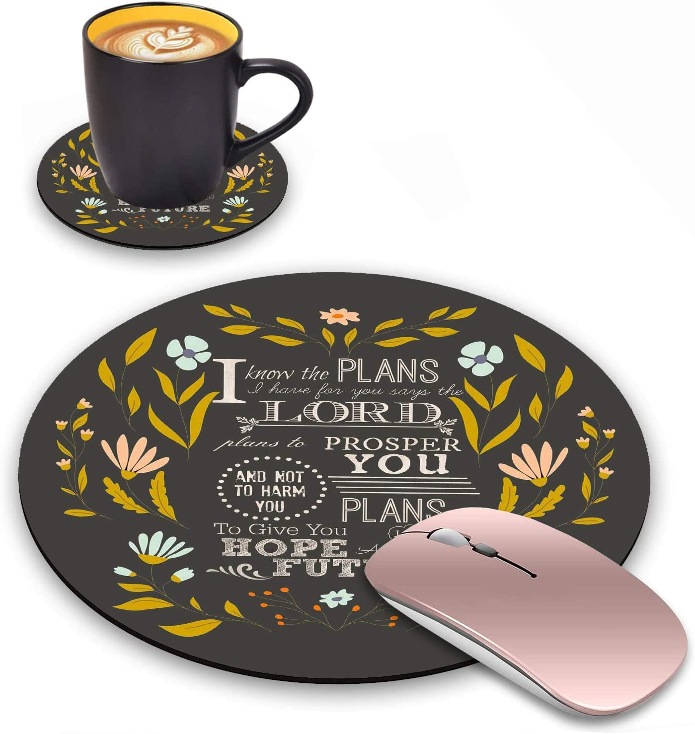 Round Mouse Pad with Coasters Set, Floral Quotes Bible Verse Jeremiah 29:11 Design Mouse Pad, Non-Slip Rubber Base Mouse Pads for Laptop and Computer Office Accessories